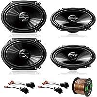 4 x Pioneer TS-G6845R 250W 6x8 2-Way Car Audio Speakers, 2 x Metra 72-5600 Speaker Adapter for Select Ford Vehicles (2 pairs), Enrock Audio 16-Gauge 50 Foot Speaker Wire