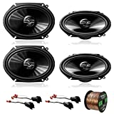 4 x Pioneer TS-G6820S 250W 6x8' 2-Way Car Audio Speakers, 2 x Metra 72-5600 Speaker Adapter for Select Ford Vehicles (2 pairs), Enrock Audio 16-Gauge 50 Foot Speaker Wire