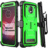 Innens Compatible Moto Z2 Force/Z Force 2017 / Moto Z2 Play Case, Hybrid Heavy Duty Anti-Scratch Shockproof Protective Case with Kickstand Belt Clip Compatible Moto Z2 Play (Green)