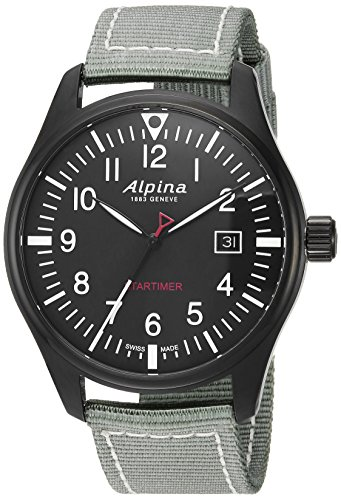 Alpina Men's 'Startimer' Swiss Quartz Stainless Steel and Nylon Casual Watch, Color:Black (Model: AL-240B4FBS6)