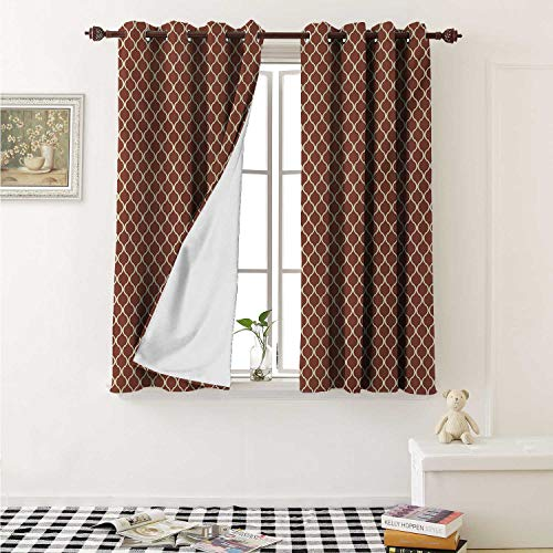Floral Blackout Draperies for Bedroom Classical Authentic with Chevron Scrolls Old Fashioned Design Curtains Kitchen Valance W72 x L63 Inch Sand Brown Cinnamon Dark Orange ()