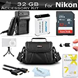 32GB Accessories Kit For Nikon COOLPIX B700, P900, P610, P600 Digital Camera Includes 32GB High Speed Memory Card + Replacement (2200maH) EN-EL23 Battery + Ac/Dc Charger + Micro HDMI Cable + Case ++++