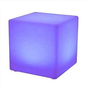WASS6 16 RGB Colour Light Up Mood Lights Rechargeable Waterproof Outdoor Cube Stool Floor Lamp Indoor Furniture Side Table Cubic Stool with Remote Control for Garden Bar Pool Wedding Party