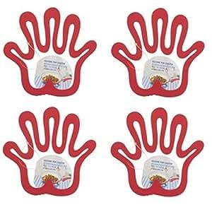 4x Salvamanteles mano rojo silicona Sartenes de posavasos resistente al calor Sartén
