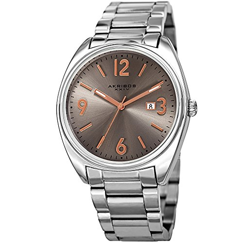Akribos XXIV Stainless Steel Designer Men's Watch - Link Bracelet Strap, Date Window, Curved Edge Vintage Dial, Sporty Wristwatch - AK957 (Akribos Watch Links)