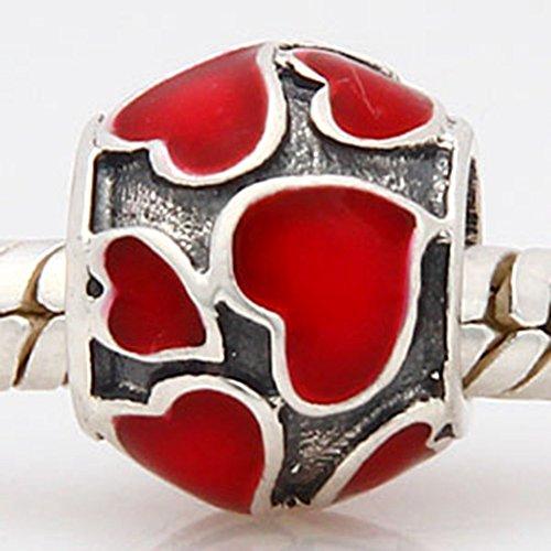 Love Heart Enamel 925 Sterling Charm