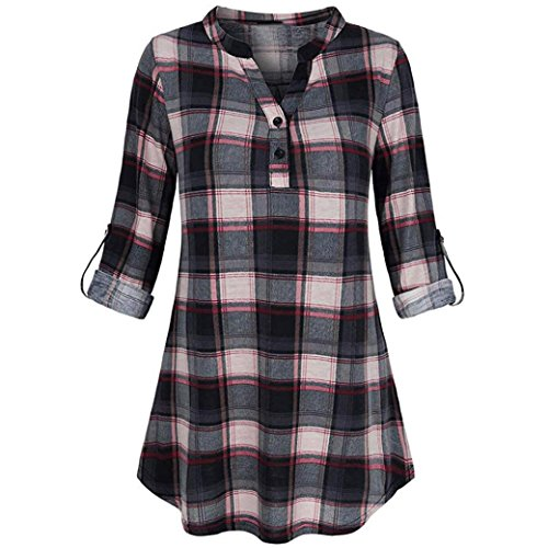 FRC0LT Women's Roll-up Plaid Split V Neck Long Sleve Casual Tunic Tops (S, Black)