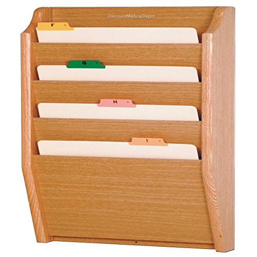 - DMD File Holder, Wall Mount Patient Chart Rack, 4 Pocket Wooden Legal Size, Light Oak
