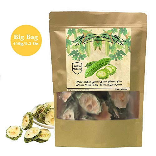 Organic Bitter Melon, Bitter Melon Tea - Caffeine-Free, GMO-Free (150g/5.3 Oz) Dried 100% Natural (KuGua 苦瓜茶) Chinese Herbal Dried Bulk Herbs Loose Slice Bitter Melon Fruit Tea