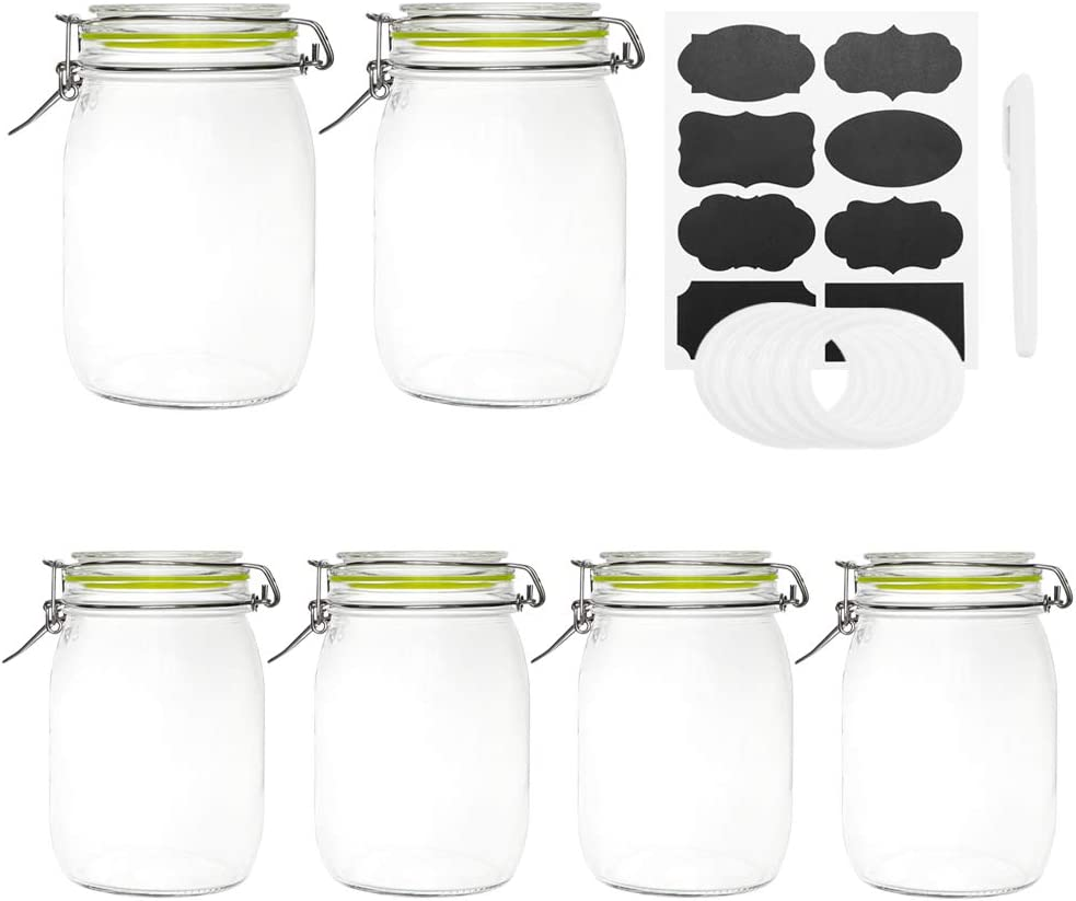 Glass Jars with Airtight Lids, Qianfenie 32 oz Wide Mouth Mason Jars with Hinged Lids for Kitchen - Glass Storage Jars with Chalkboard Labels & Pen and Replacement Silicone Gaskets, Set of 6