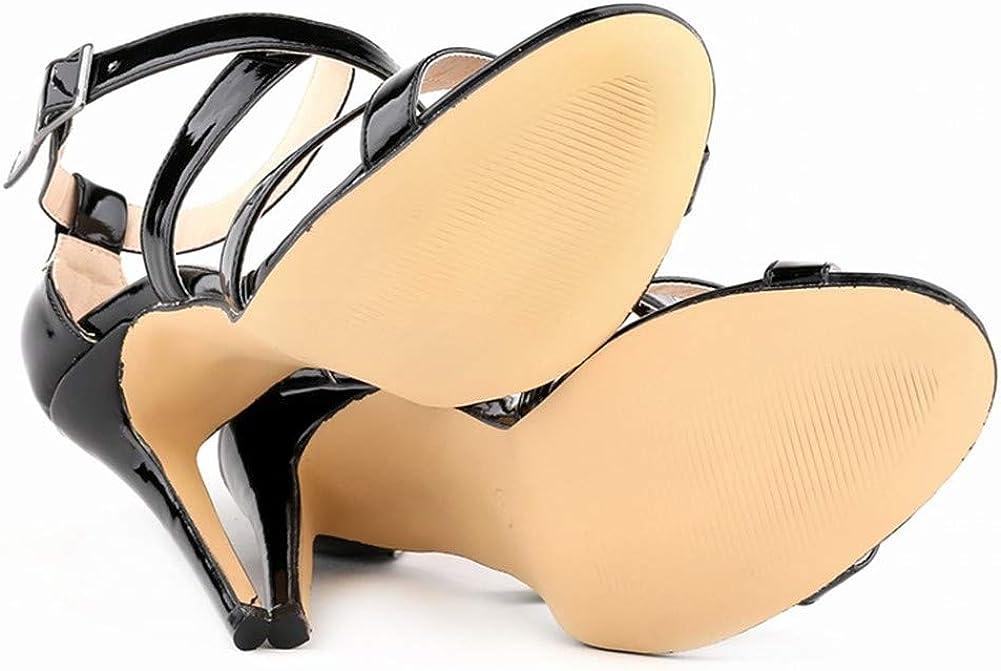 FENIKUSU Womens High Heeled Sandals Ankle Strap Open Toe Stiletto Summer Wedge Shoes