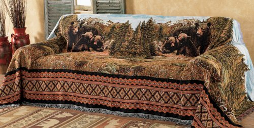 Black Bear Family Mountain Chair Cover - Cabin (Black Forest Furniture)