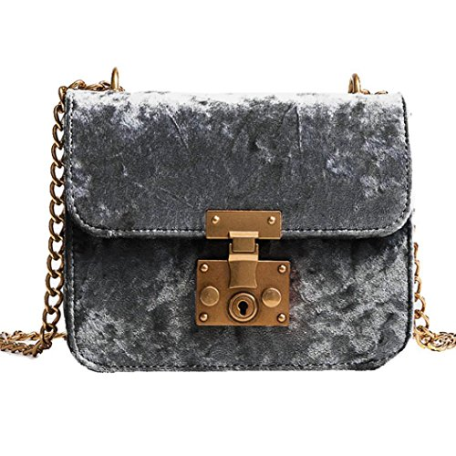 Shoulder Tote Handbag Gray Bag Retro Women Saingace Fashion Velvet Gold Messenger Bags Bag YFH7q