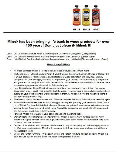 Milsek Furniture Polish and Cleaner with Cinnamon-Raspberry Scent (Holiday Oil), 12-Ounce, Pack of 12, HO-12-12PL by Milsek (Image #5)