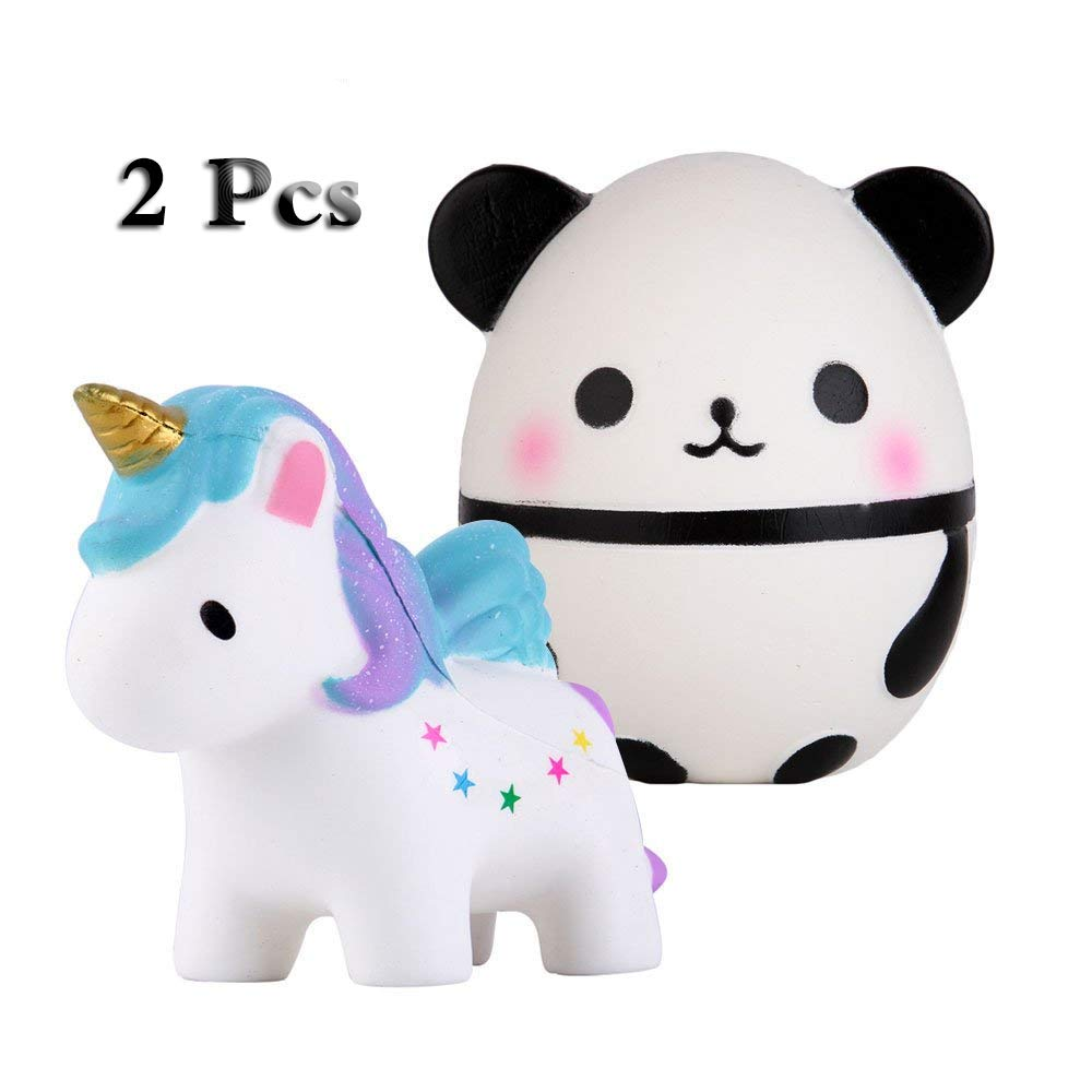 Anboor Squishies Unicorn Panda Egg Kawaii Slow Rising Scented Animal Squishies Stress Relief Kids Toy Gift,2 Pcs