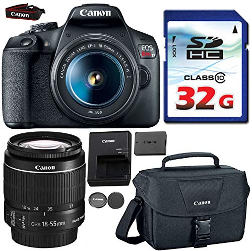 Canon EOS Rebel T7 DSLR 24MP WiFi Enabled + EF-S 18-55mm is [Image Stabilizer] II Zoom Lens + Canon Professional Gadget Bag + Commander 32GB Class 10 Ultra High Speed Memory Card (Best 24mp Dslr Camera)