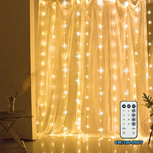 New Type 300 LED Curtain String Light with 8 Twinkle Modes Modes RF Remote for Wedding Party Home Garden Bedroom Outdoor Indoor Wall Decorations,Warm White