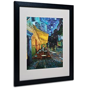Trademark Fine Art Vincent Van Gogh Cafe Terrace Framed Matted Canvas Art, 16 by 20-Inch, Black