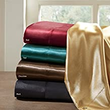 Satin Silk Sheets Queen, Casual Silk Bed Sheets Queen, Hotel Sheets 6-Piece Include Flat Sheet, Fitted Sheet & 4 Pillowcases, Red