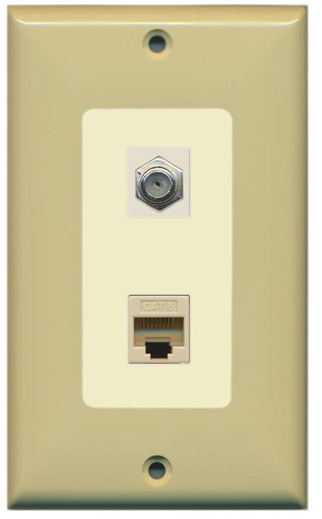 Amazon.com: RiteAV - 1 Coax Cable TV F and 1 Cat6 Ethernet Wall Plate Decorative - Ivory/Light Almond - Bracket Included: Home Audio & Theater