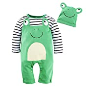 BIG ELEPHANT Baby Boys 1 Piece Frog Long Sleeve Romper With Hat G81 frog 3-6 Months