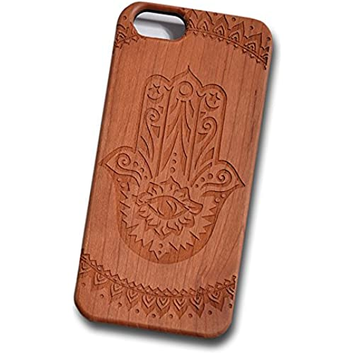 Hamsa Hand Eye Engraved Cherry Wood Cover for iPhone and Samsung phones Wood - Samsung Galaxy s7 Edge Sales