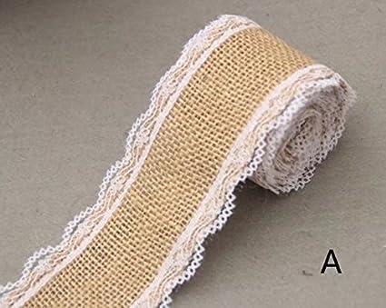 Craft Natural Jute Hessian Roll Rustic Lace Edged Ribbons Burlap Trims Tape