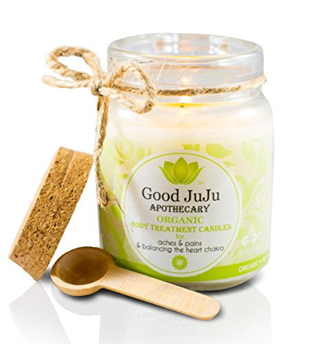 Good JuJu Apothecary 7 oz. Organic Therapeutic Massage Candle for Aches, Pains & Balancing the Heart Chakra (Soy Oil Candle Massage)