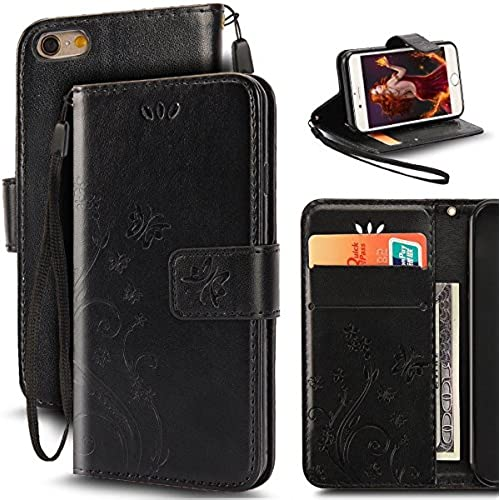 Samsung Galaxy S7 Butterfly Card Slot Case-Aurora Black PU Leather Soft Smooth Floral Wallet Kickstand Case for Sales