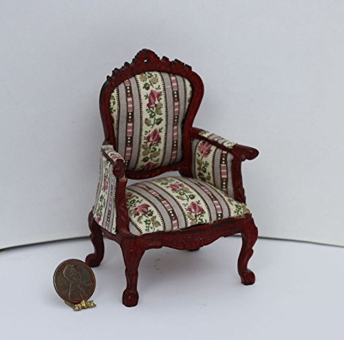 Dollhouse Miniature Traditional Floral Stripe Chair in Hand Carved Mahogany