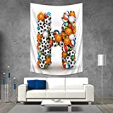 Anhuthree Letter H Tapestry Table Cover Bedspread Beach Towel Letter H Stacked from Gaming Balls Alphabet of Sports Theme Competition Activity Dorm Decor 54W x 72L INCH Multicolor