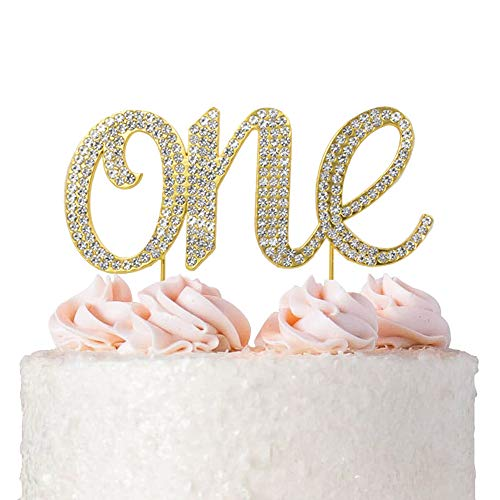 ake Topper Decoration - Gold One 1-1st Birthday Party Supplies Smash Cake Decorations ()