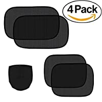 "Car Sun Shade - 4 Pack Cling Car Side Windows Sunshade for Baby,Car Sunshades Protector,80 GSM for Maximum UV/Sun/Glare Protection for Kids,2 Pack 20""x12"" and 2 Pack 17""x14"" for Side Window Sunshades"