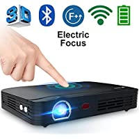 WOWOTO T8E 2000 Lumens Multimedia Home Theater Projector Support 1080P Max 300' DLP 3D Video Projector Built in Battery 7800mAh Portable Projector for Movie Night with Android System