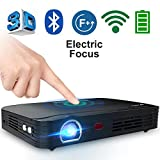 """Electronics : WOWOTO T8E 2000 Lumens Multimedia Home Theater Projector Support 1080P Max300"""" DLP 3D Video Projector Built in Battery 7800mAh Portable Projector with Android System Free HDMI Cable included"""