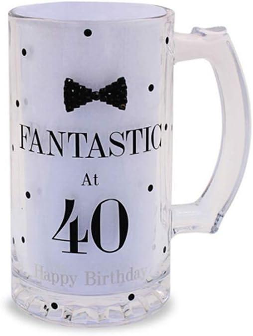 Mad Dots Lesser Pavey - Vaso de Cerveza diseño de Lunares y Pajarita celebración cumpleaños para Regalo (One Size) (Fantastic At 40)