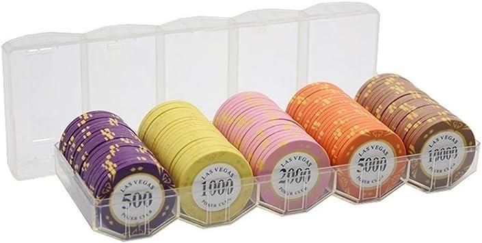TX GIRL 100PCS Arcilla Poker Chips con Acylic De La Caja del Metal ...