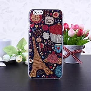 GJY Paris Eiffel Tower and Flowers Pattern Litchi Texture Plastic Hard Case for iPhone 6