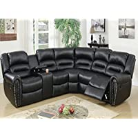 Tamanna Black Bonded Leather Reclining Sectional Sofa by Poundex