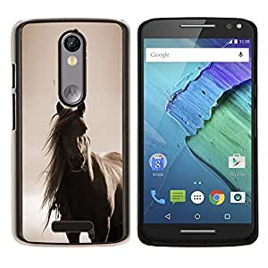 Horse Mane sepia Brown Animal Pet- Metal de aluminio y de plástico duro Caja del teléfono - Negro - Motorola Droid Turbo 2 / Moto X Force