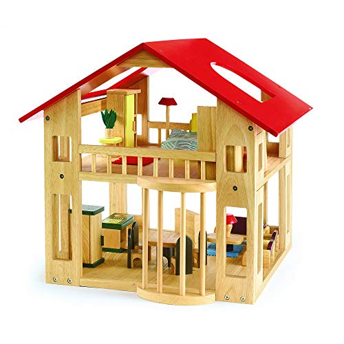 Excellerations Wooden Deluxe Dollhouse for Kids (28 Pieces) Classroom - Chalet Deluxe