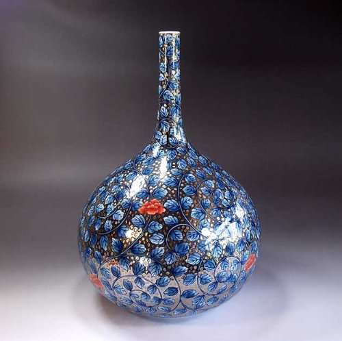 有田焼伊万里焼|花瓶陶器花器壺|贈答品|高級ギフト|記念品|贈り物|プラチナ彩藤井錦彩 B00HRL7ODQ
