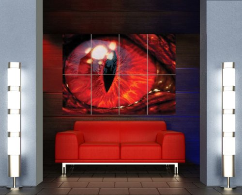 Dragon Large Poster (Red Dragon Eye Poster - Gothic Giant Art Print X3131)