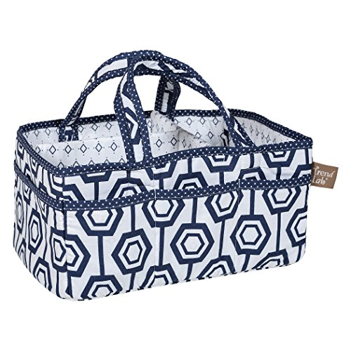 Trend Lab Hexagon Storage Caddy - Nursery Essential and Organizer, Navy/White