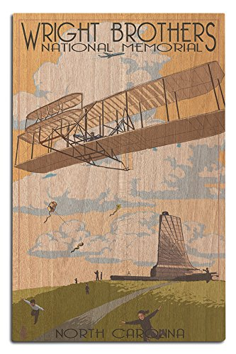 Wright First Memorial Flight Brothers (Lantern Press Outer Banks, North Carolina - Wright Brothers National Memorial (12x18 Wood Wall Sign, Wall Decor Ready to Hang))