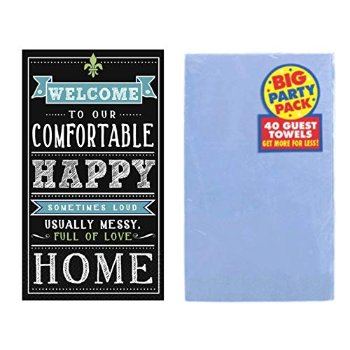Friends and Family Bathroom Guest Towels, Disposable Paper Napkins, Gold or Silver, Set of 2 Packages (Happy Home)