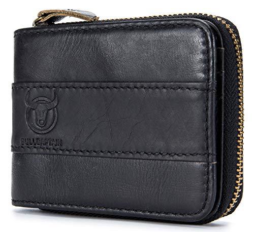 RFID Blocking Mens Leather Zipper wallet,Zip Around Vintage Bifold Multi Credit Card Holder (Black)