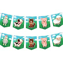 Farm Animals Party Banner - Birthday or Baby Shower Decorations Supplies - Cow Pig Sheep Chicken Horse - 2 Pack