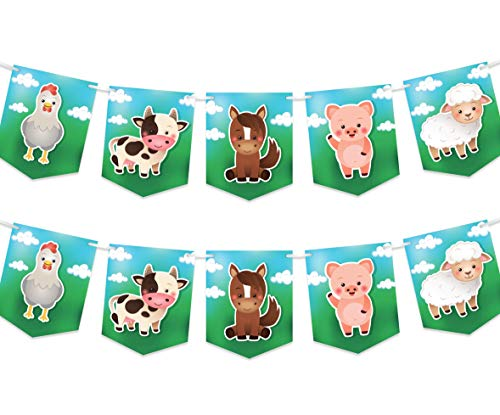 (Farm Animals Party Banner - Birthday or Baby Shower Decorations Supplies - Cow Pig Sheep Chicken Horse - 2 Pack )
