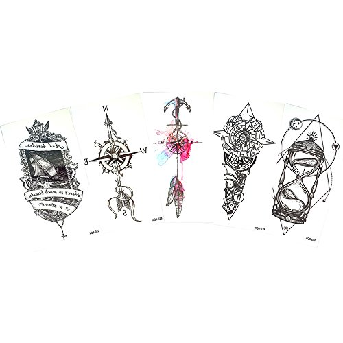 5 Sheets Small Full Flower Arm Body Art Decal Temporary Tattoo Sticker Compass Design hot sale